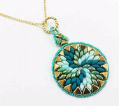 Swirl Pendant Jewellery Kit with Kheops Par Puca and SuperDuos - Seafoam tones with Gold